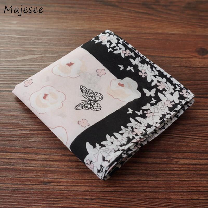Handkerchiefs Women Cotton High Quality Soft Funny Printed Plaid Various Color Casual Ladies Pocket Square Elegant Chic Trendy