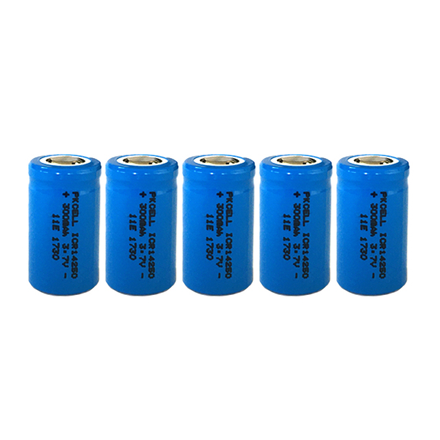 5PCS ICR14250 1/2AA 300mah lithium battery 14250 3.7v li ion rechargeable batteries for Laser Sight Instrument