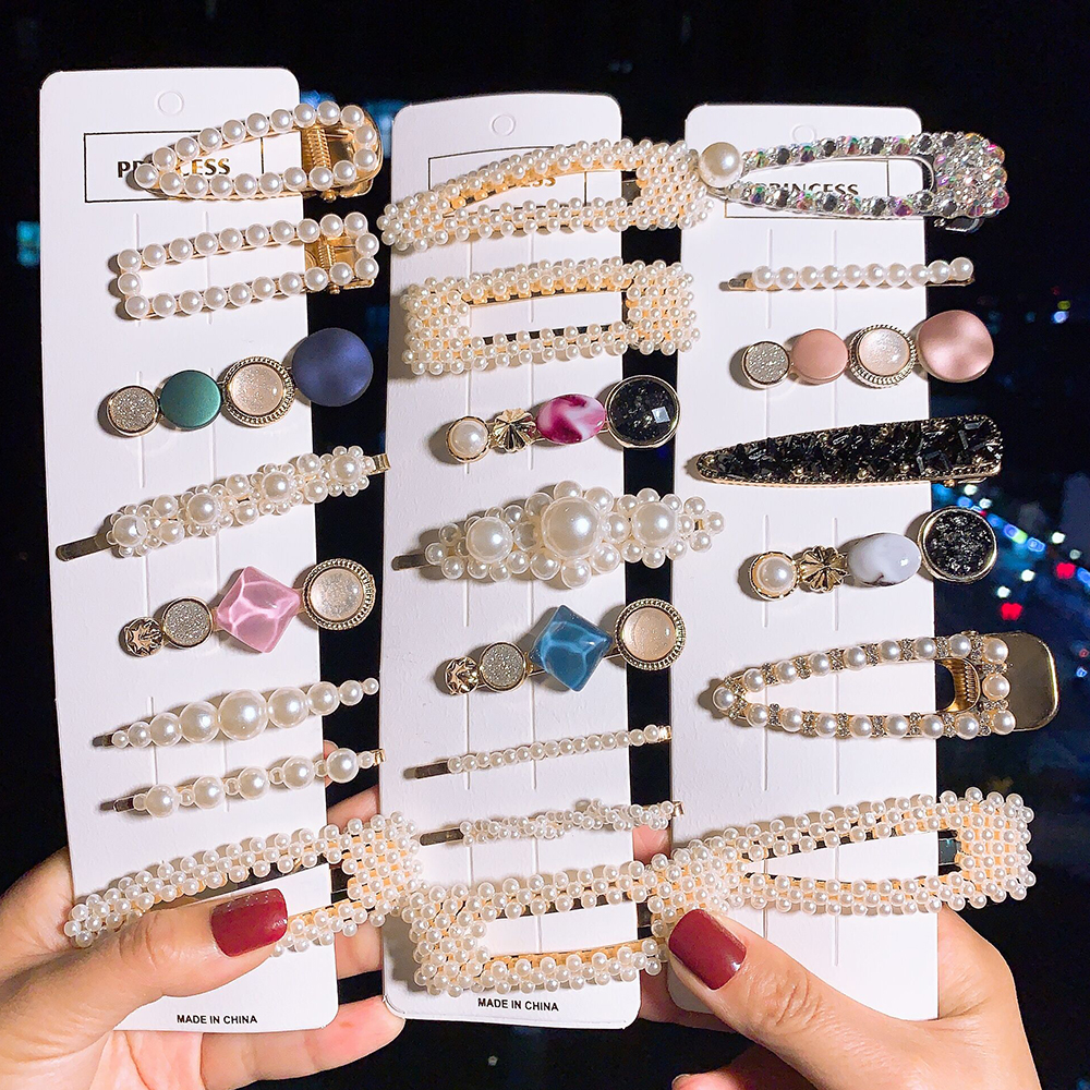 2/3/4/5pcs Fashion Pearls Hair Clips For Women Girls Handmade Hair Pins Hairpin Barrette Headband Hair Style Accessories