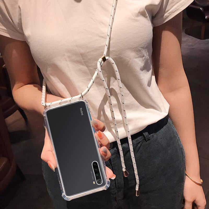 Strap Cord Chain Transparent Phone Case For Xiaomi redmi note 8 7 6 Pro K20 7A 6A Mi 9SE 9T mi A3 Mi8 Lite Necklace Lanyard Case