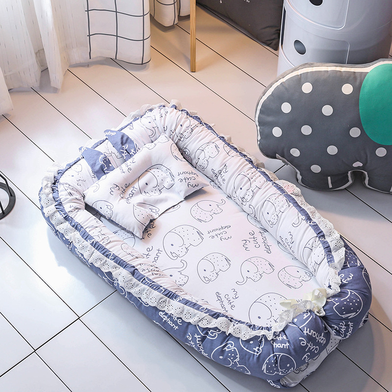 Portable Crib With Pillow Baby Nest Bed Folding Newborns Cots Sleep Nest Bed Carry Cot