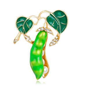 Enamel Green Pea Brooches For Women Crystal Simulated Pearls Corsages Men Kids Sweater Suit Accessories Pins