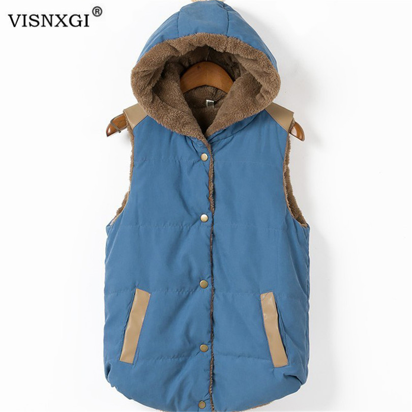 VISNXGI Women's Cotton Wool Collar Hooded Vest Coats Thicken Winter Warm Jacket Female Sleeveless Polar Fleece Fabric Outerwear