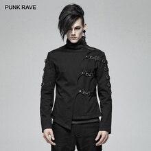 PUNK RAVE nouveaux hommes Punk beau asymétrique Twill court manteau mode décontracté veste les deux côtés manches couture le cuir PU