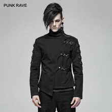 PUNK RAVE nowy męski Punk przystojny asymetryczny skośny krótki płaszcz moda casualowa kurtka obie strony wyszywane rękawy PU skóra