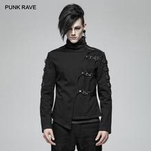 펑크 레이브 새로운 남성 펑크 잘 생긴 비대칭 능 직물 짧은 코트 패션 캐주얼 재킷 양면 슬리브 스티치 pu 가죽