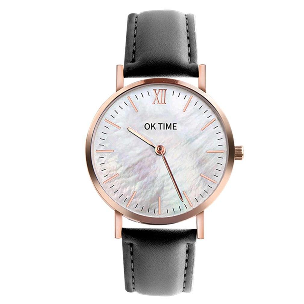 Fashion Seashell 36mm Workmanship Classic Big Dial Leather Colorful Strap Women Quartz Wrist Watch Trendcy Valentine Girls GIFTS