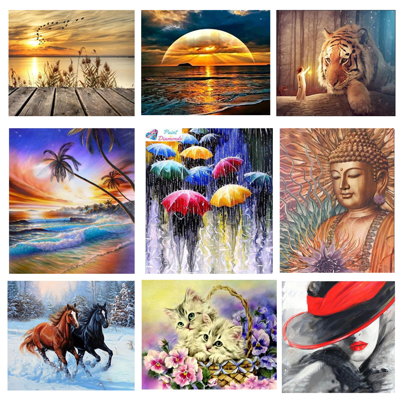 5D DIY Diamond Painting Cross Stitch Scenery Mosaic Full Square Embroidery Sale Rhinestone Picture Animal Crafts Home Decoration