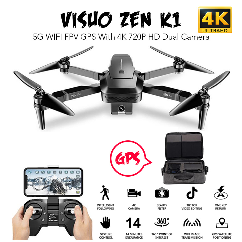 VISUO ZEN K1 5G WIFI FPV Drone GPS With 4K 720P HD Dual Camera 30mins Flying Time Brushless Foldable RC Quadcopter VS XS812 F11