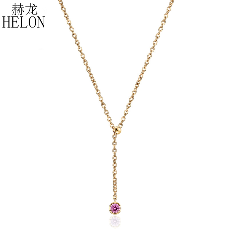 HELON Solid 18K желтое золото 0.13CT сертифицированные, подлинные помолвка Свадебная женская бижутерия Элегантные ожерелья