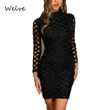 Welve Autumn Long sleeve Dress for Women womens elegant O-neck lace cocktail Sleeve Ladies Casual Dresses Vestidos