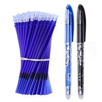 53Pcs/Lot Erasable Pen Refill Set Washable Handle 0.5mm Blue Black ink Erasable Pen Refill Rod School Office Writing Stationery Ballpoint Pens     -