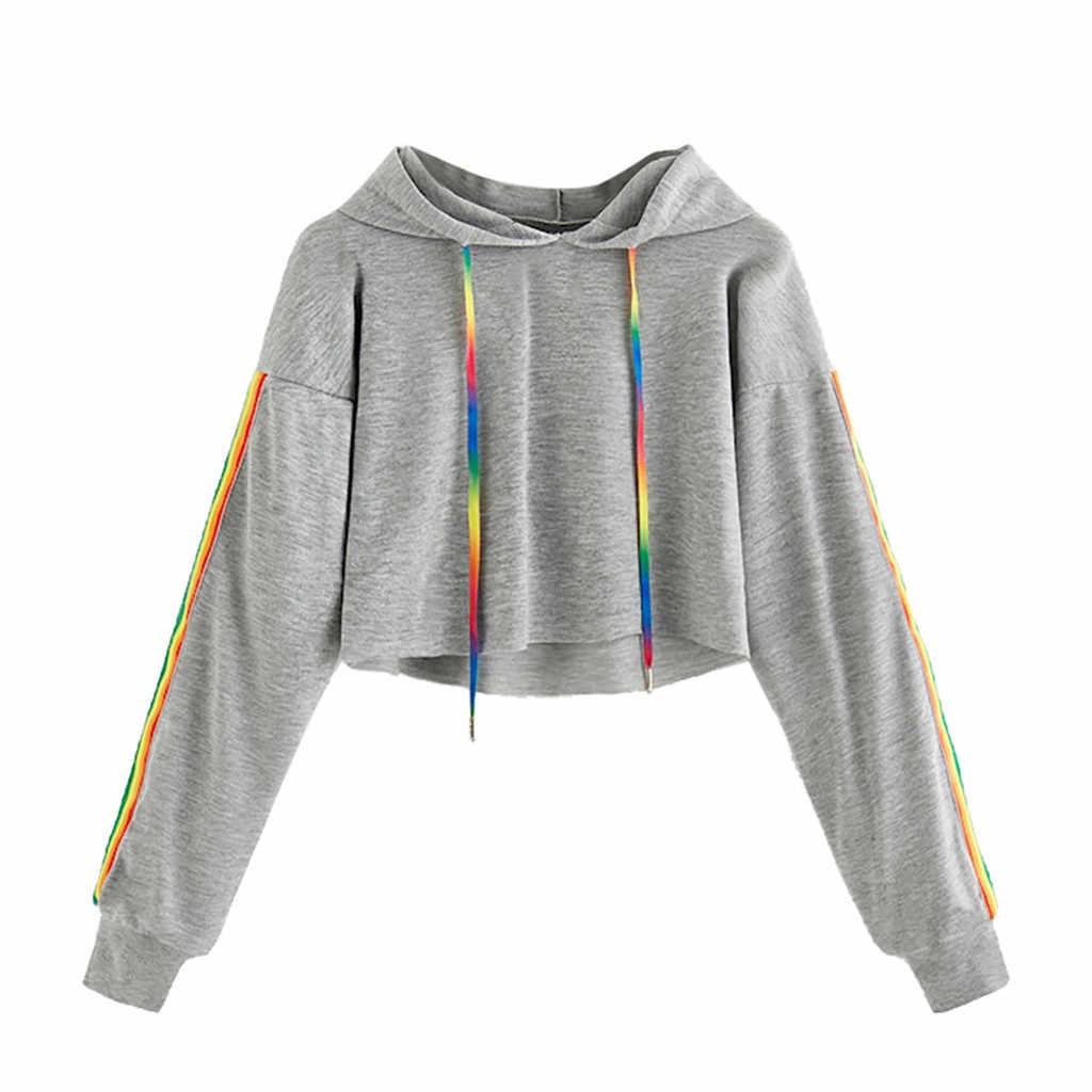 Moda feminina manga longa hoodie pulôver moletom arco-íris hoodies moletom feminino de manga comprida com capuz topos de renda acima w6