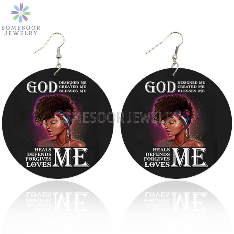 SOMESOOR God Created Blessed Me Afro Arts Wooden Drop Earring Black Curls Natural Hair Designs Painted Dangle For Women Gifts