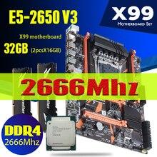 Atermiter X99 D4 마더 보드 세트 Xeon E5 2650 V3 LGA2011 3 CPU 2pcs X 16GB = 32GB 2666MHz REG ECC RECC DDR4 메모리