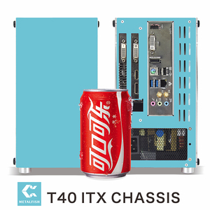 METALFISH-carcasa T40 A4 mini-itx para ordenador gaming, chasis blanco, Mini PC, transpare, USB 3,0, Rosa/azul, chasis pequeño SFX