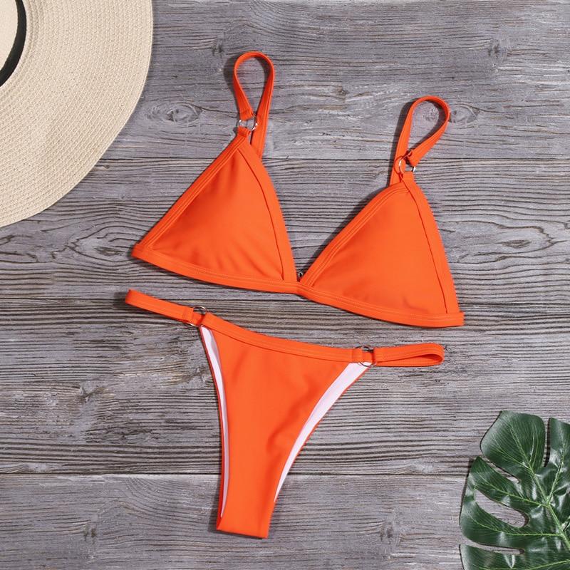 Bikini 2020 New Summer Solid Bikini Set Low Waist Swimwear Women Brazilian Bathing Suit Sexy Swimsuit Female Brazilian Biquini 5