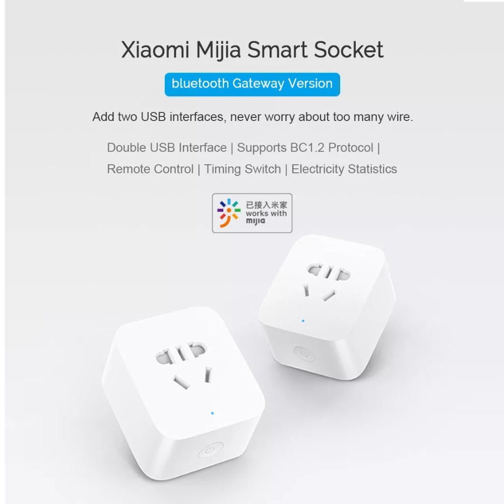 New Xiaomi Mijia Smart Socket Bluetooth Gateway Edition Dual USB Smart WIFI Socket Power Adapter Mijia Smart Home Device (7)