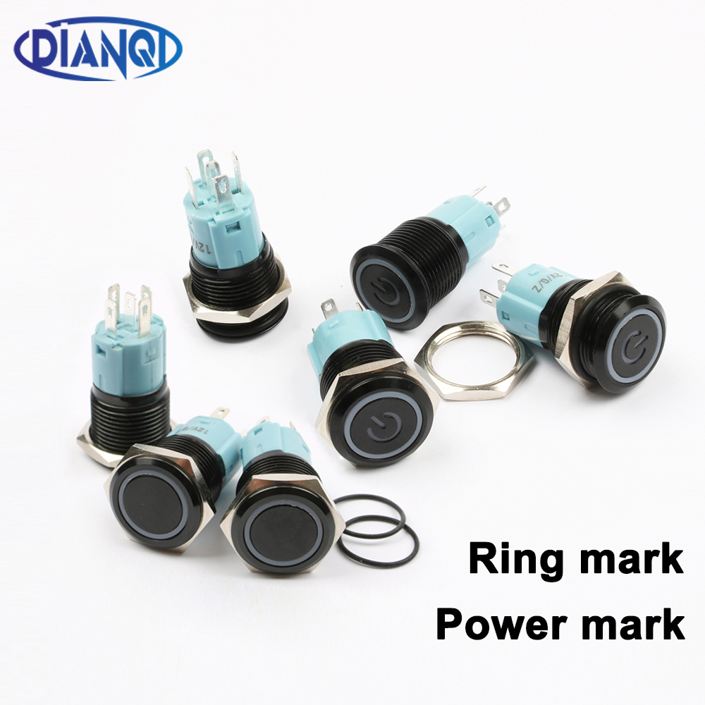 Free Shipping 16mm Metal Push Button Switch Black Body Waterproof Latching Momentary Maintained Switch Ring Power Lamp 16HX.S.BK