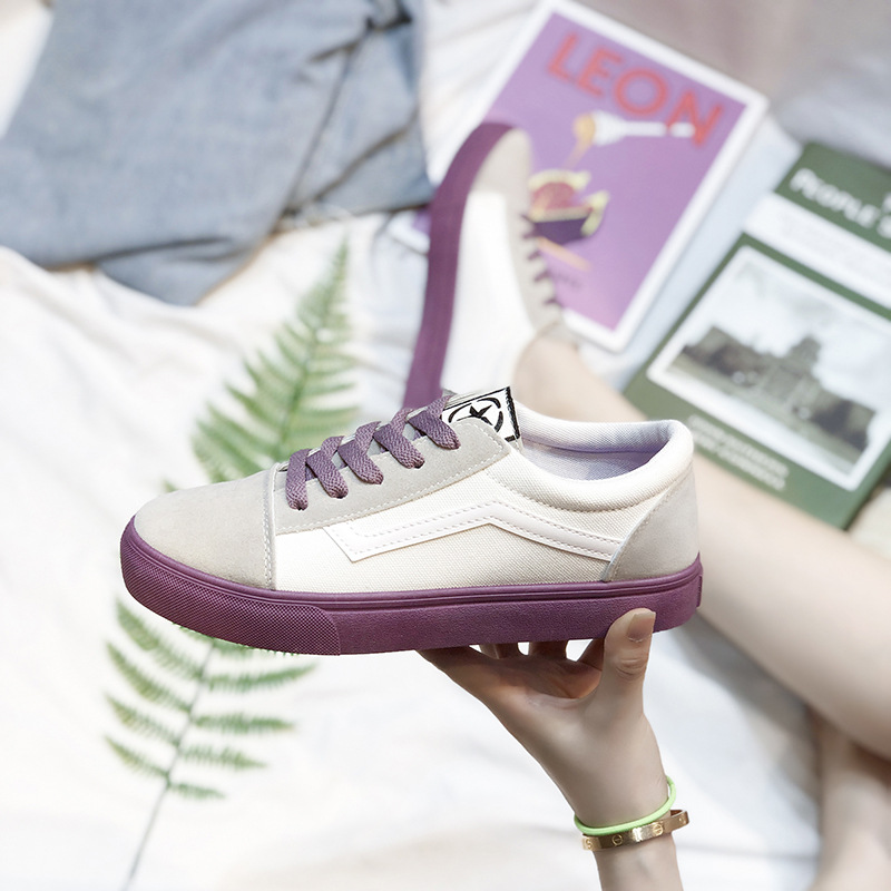 Image 3 - SWYIVY Canvas Shoes Women Sneakers Lace Up Flat Woman Casual Shoes Spring 2020 New Striped Sneakers For Women Shoe Ladies FlatWomens Vulcanize Shoes   -