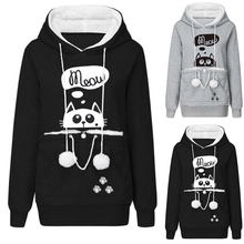 Autumn Winter Women Hoodies Fashion Gray Black Long Sleeve Sweatshirts Cute Cartoon Cat Pattern Warm Hoodies(China)