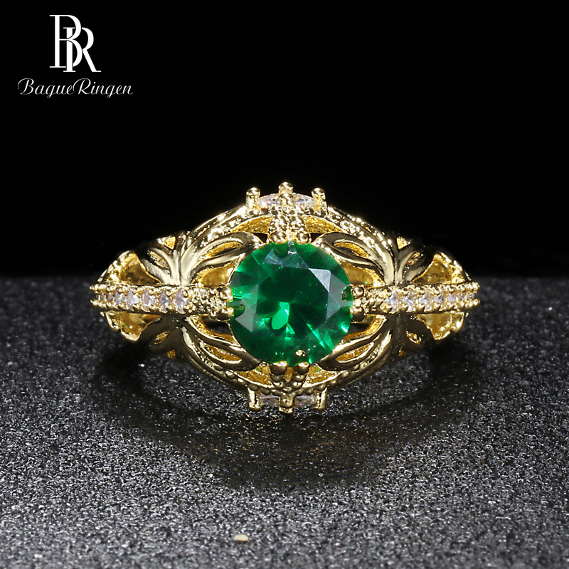Bague Ringen Oval Emerald Palace Hollow Pattern Silver 925 Jewelry Vintage Gemstone Ring For Women Butterfly Crown Wholesale