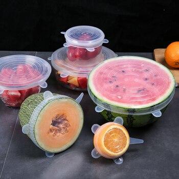 Tapas de silicona universales para alimentos, accesorios de olla, 6 uds.