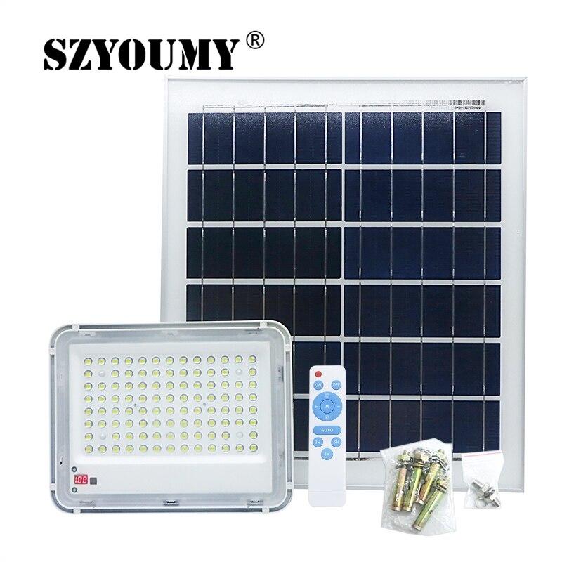 SZYOUMY Led Solar Veiligheid Overstroming Licht 60W 150W 200W Solar Floodllight Outdoor Waterdicht Met Power Display Afstandsbediening controle