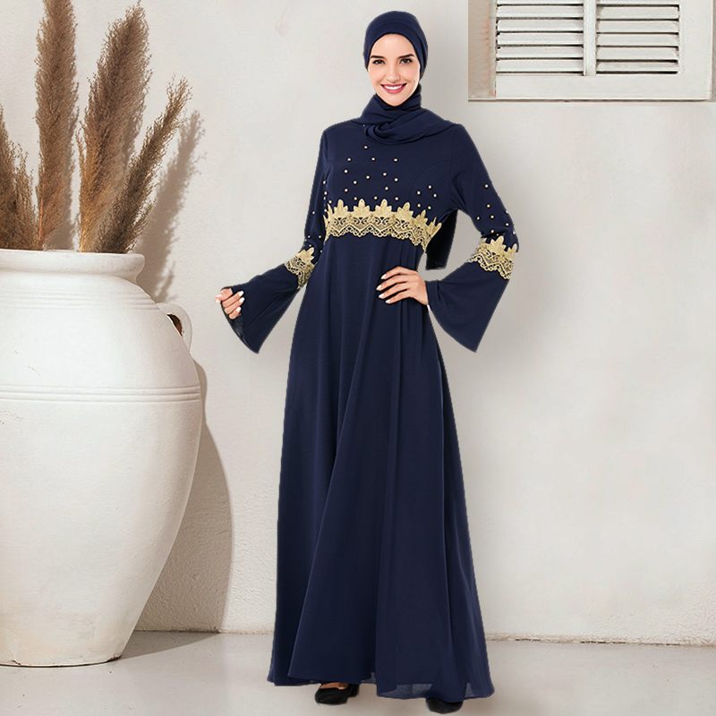 Siskakia Muslim Long Dress Elegant O Neck Flare Long Sleeve Gold Lace Embroidery Beads Maxi Dresses Navy Blue Swing A Line Dress