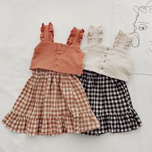 Plaid Dress Girls Denim Clothing Suspender Korean Fashion Summer Children Short-Top Washed-Strap