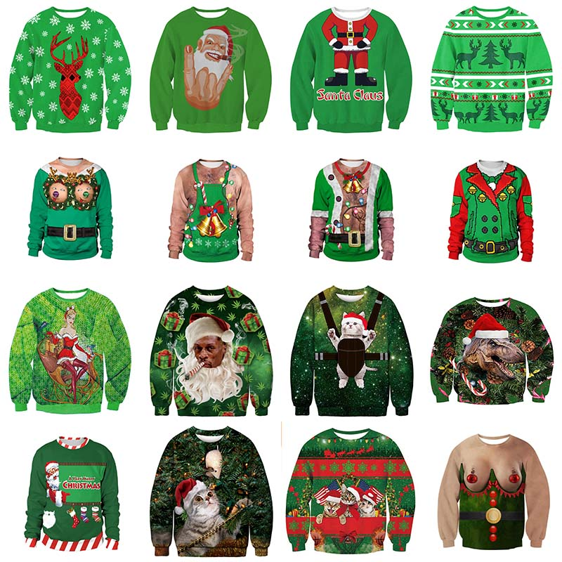 Harajuku Ugly Christmas Sweater Unisex Men Women Green Santa Elf Pullover Funny Female Male Sweaters Tops Xmas Autumn Clothing