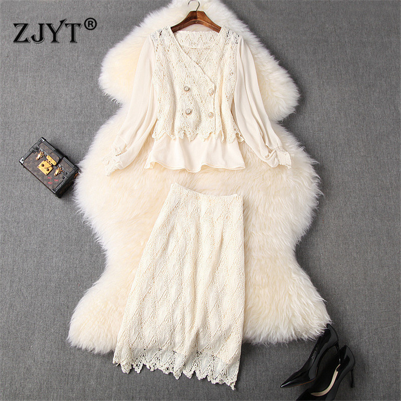 2020 New Designer Runway Set Women's Fashion Spring Outfits Elegant Long Sleeve Lace Top And Skirt 3Piece Clothing Sets