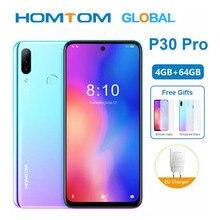 Celular homtom p30 pro 6.41 original 4gb + 64gb, smartphone com android Polegada, núcleo octa core, mt6763, câmera traseira tripla de 13mp smartphone câmeras,