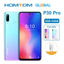 Original HOMTOM P30 pro 6,41 Zoll Android 9.0 Handy MT6763 Octa Core 4GB 64GB Hinten 13MP Triple Kameras smartphone