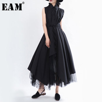 [EAM] Women Black Asymmetrical Bandage Long Shirt Dress New Lapel Sleeveless Loose Fit Fashion Tide Spring Summer 2020 1T756