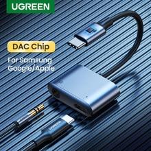 UGREEN USB C adaptador de Cable AUX tipo C 3,5mm AUX convertidor de auriculares DAC Chip PD QC de carga para Huawei iPad Samsung Pixel