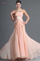 Peach Evening Dresses 2019 A line Strapless Chiffon Beaded Backless Long Dubai Saudi Arabic Evening Gown Prom Dresses