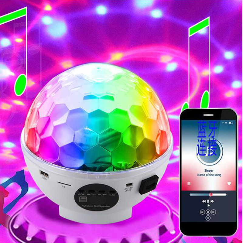 USB LED Bluetooth Speaker Light MP3 Player Magic Ball Light Professional Audio Stage Light/LaSound control rotatiser Stage Light