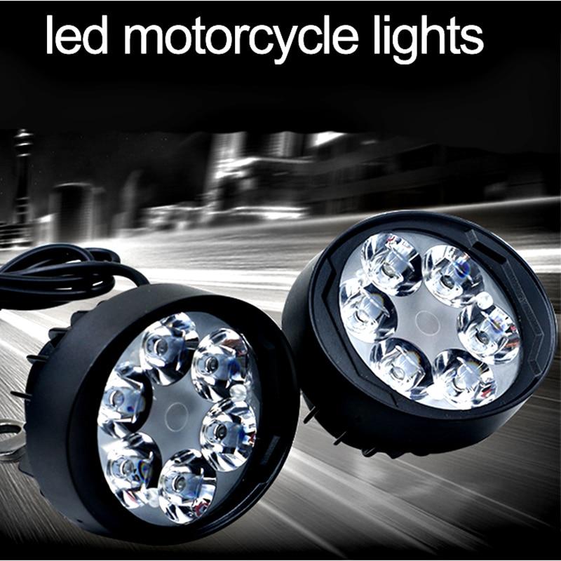 Huiermeimi Motorcycle Spotlight LED Headlight 12V LED Moto Side Mirror Lights Motorbike Driving Headlamp Head Spot Work Lamp DRL