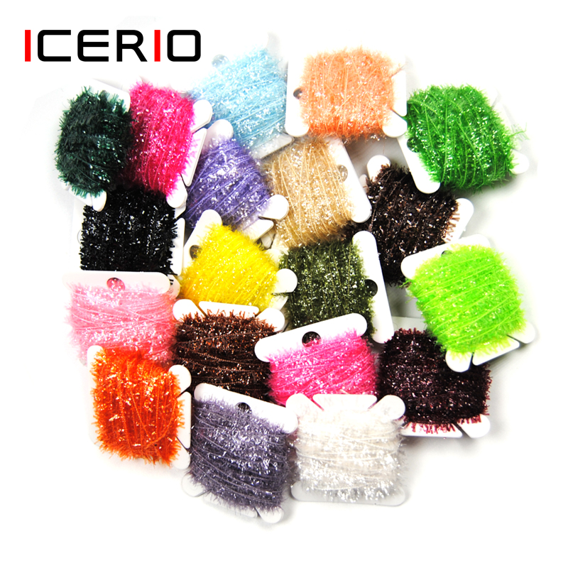 ICERIO 2PCS Fly Fishing Tinsel Ice Chenille Crystal Flash Cactus Line Fly Tying Materials Nymph Streamers Lure Making
