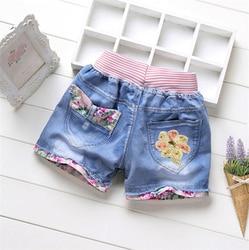 Детская одежда KEAIYOUHUO, летние новые джинсовые шорты для девочек, джинсовые Горячие брюки, детские шорты с милым принтом, детская одежда, брюк...