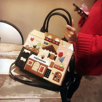 Women Bags Leather Patchwork Embroidery Handbags Shoulder Bags Messenger Bag Tote Braccialini Style Art Cartoon Colored House