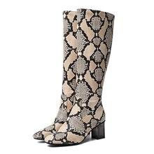 YANSHENGXIN Shoes Woman Boots Snake Leopard Knee-High Even Heel Women Autumn Winter Inner Zip Ladies Booties