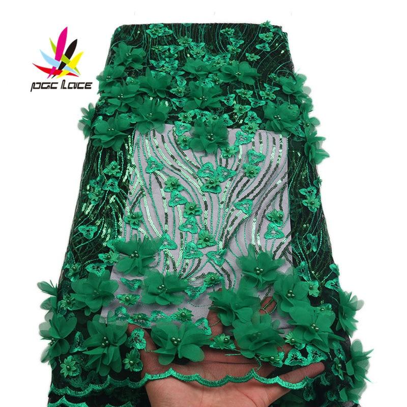 2018 New French Laser cut lace fabric Nigerian Sequins Net fabric high-quality wedding dress women 3d flower beaded XZ1744B-1