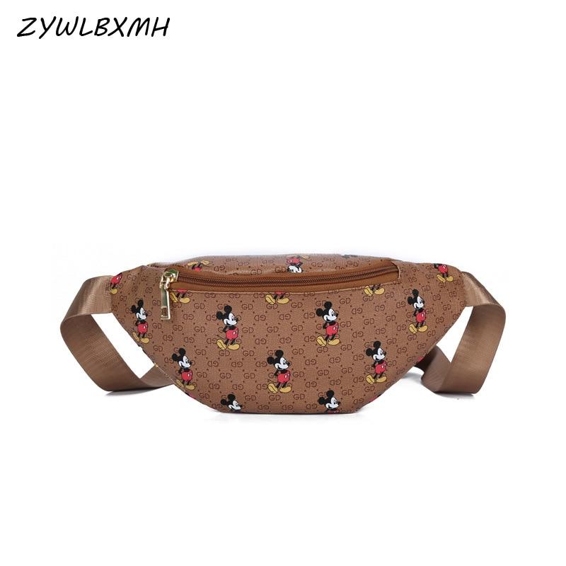 ZYWLBXMH Cartoon Mickey Waist Packs Women's Waist Bag Banana Bag Waterproof PU Leather Fanny Pack Solid Color Belt Bag Chest Bag