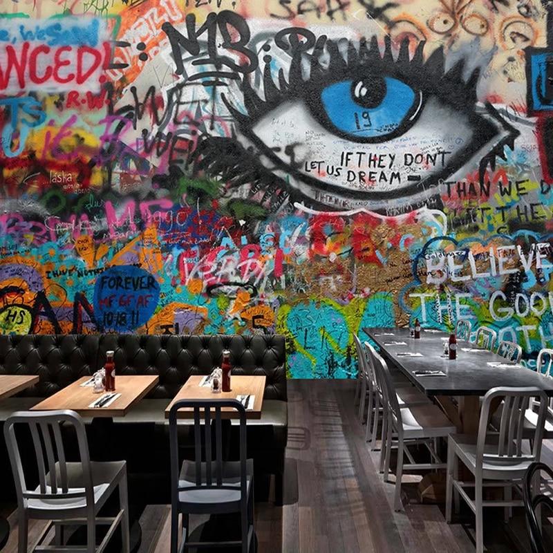 Custom 3D Mural Wallpaper Abstract Graffiti Eyes Art Wall Painting Bedroom Restaurant Bar Wall Decor Wallpapers For Living Room