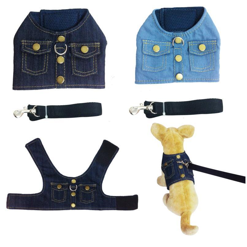 Europe And America Pet Dog Chest And Back With Handsome Fashion Denim Jacket Chest And Back Hand Holding Rope Nursing Dog Suppli