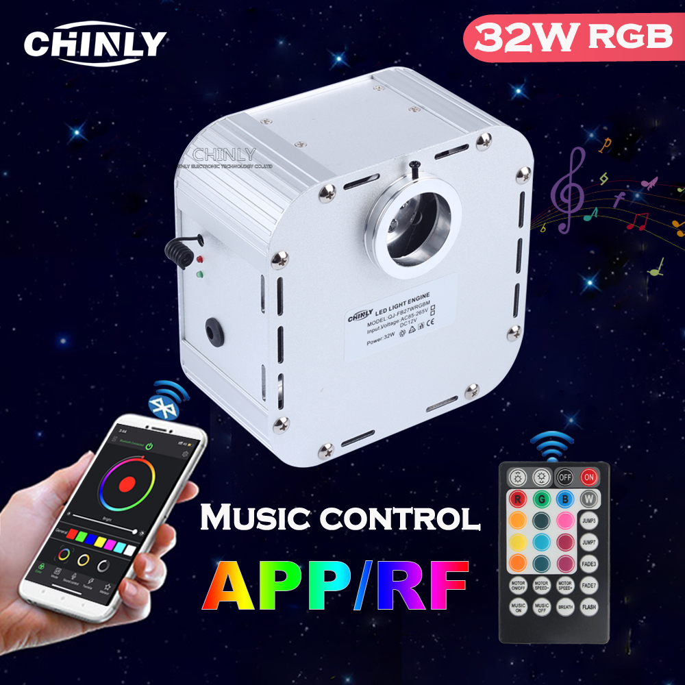 Music Control 32W Smart APP Control Twinkle 4 Level-speed RGB Fiber Optic Engine Starry Sky Effect Ceiling LED Lights 2019 NEW