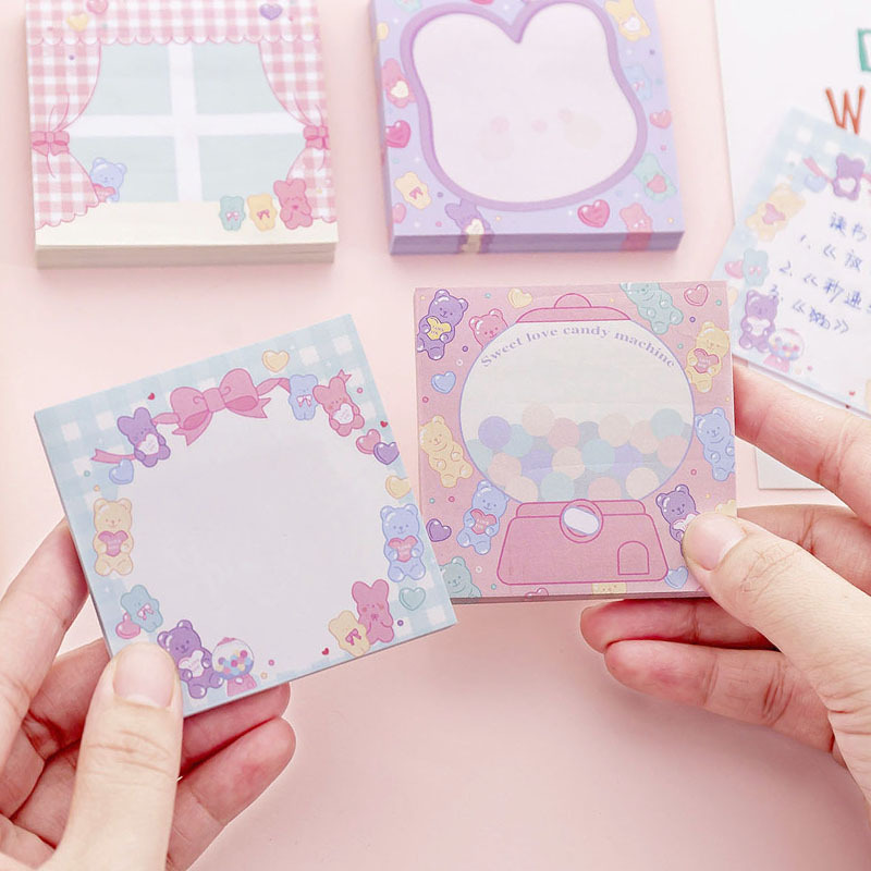 4pcs Sweet Love Sticky Note Toy Candy Color Adhesive Post Memo Pad Marker It Stickers Stationery Notebook Office School A6912