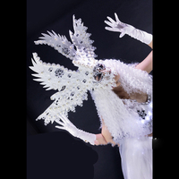 Senior luxury mysterious girl white angel baby costumes goddess costumeHalloween party cosplay Led Luminous dance suit